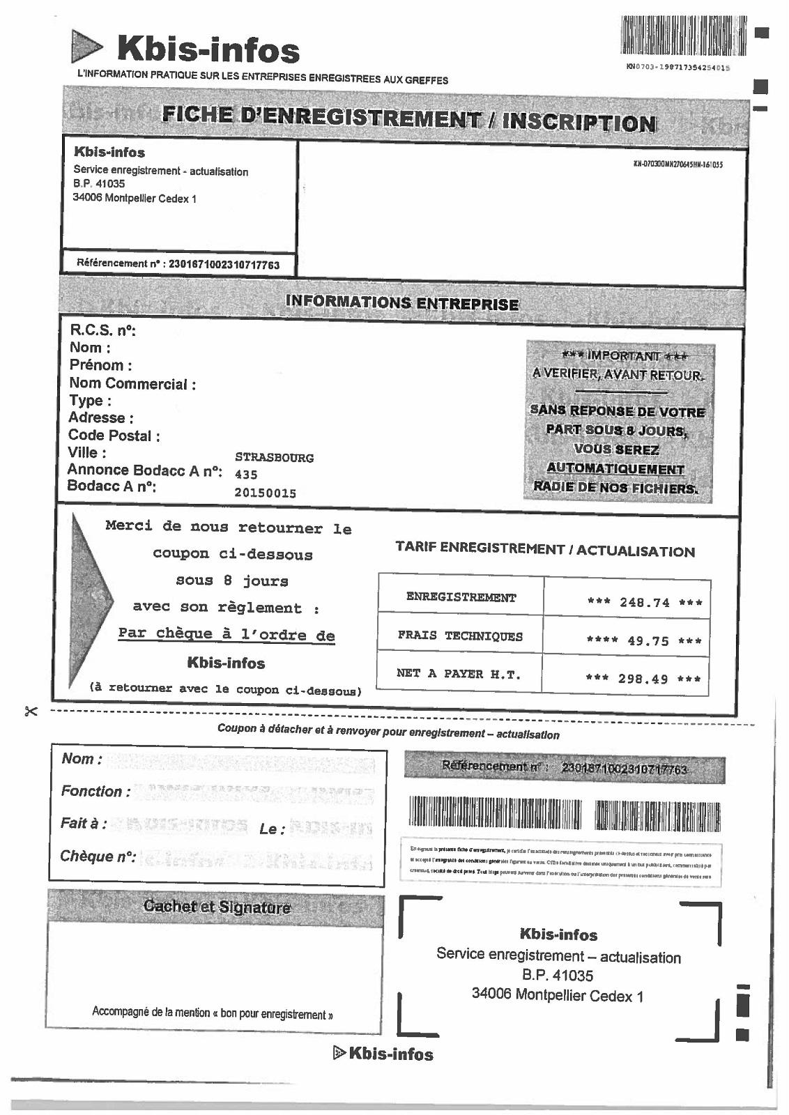 Kbis infos courrier publicitaire jdp - Auto entrepreneur chambre des metiers ...